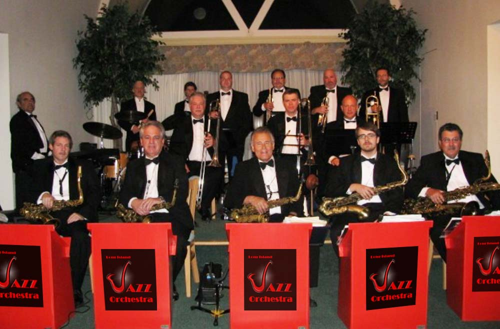 The members of the Long Island Jazz Orchestra prepared to perform at a wedding.